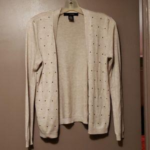 Beige long sleeve open front studded cardigan